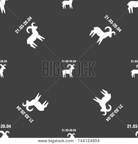 Decorative Zodiac Aries Sign. Seamless Pattern On A Gray Background. Vector