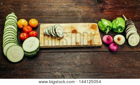 Vegetable ingredients for cooking ratatouille - traditional French vegetarian dish