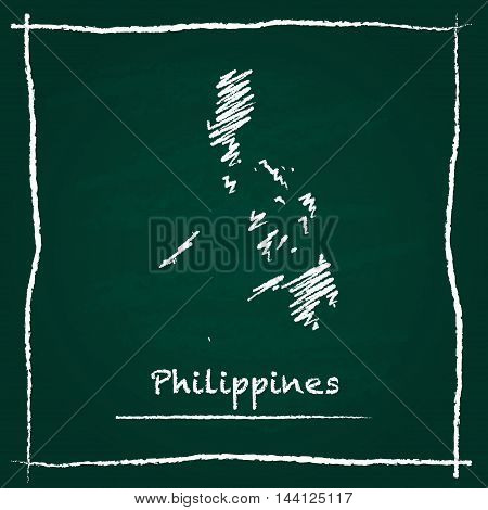 Philippines Outline Vector Map Hand Drawn With Chalk On A Green Blackboard. Chalkboard Scribble In C