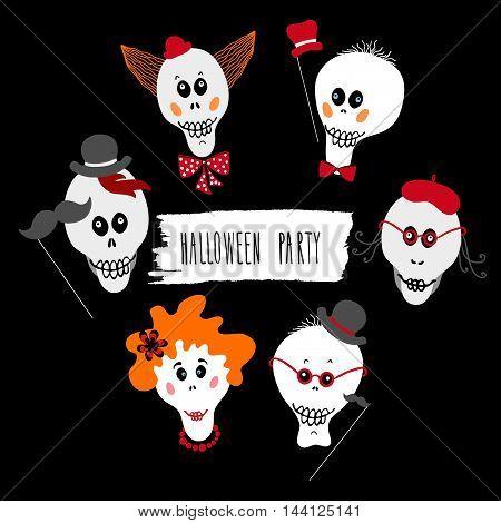 Set of fun skulls. Halloween design element for poster, invitation, flyer. Halloween party lettering.