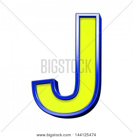 One letter from yellow with blue frame alphabet set, isolated on white. 3D illustration.