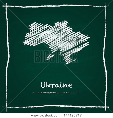 Ukraine Outline Vector Map Hand Drawn With Chalk On A Green Blackboard. Chalkboard Scribble In Child