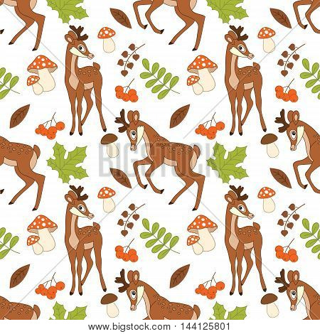 Vector seamless pattern with deers, amanita, berries and leaves