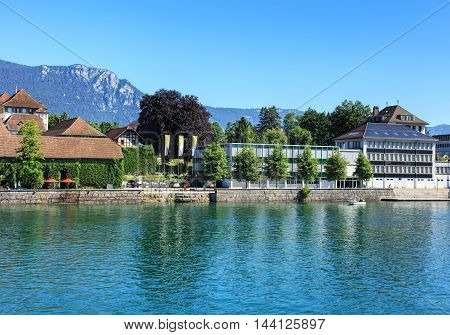Solothurn, Switzerland - 10 July, 2016: buildings on the Ritterquai quay of the Aare river. The city of Solothurn is the capital of the Swiss Canton of Solothurn and is also the only municipality of the district of the same name.