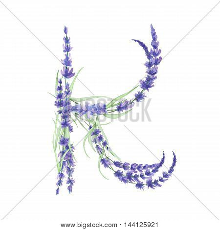 Capital letter K of watercolor lavender flowers, isolated hand drawn on a white background, wedding design, english alphabet for the festive and wedding decor and cards