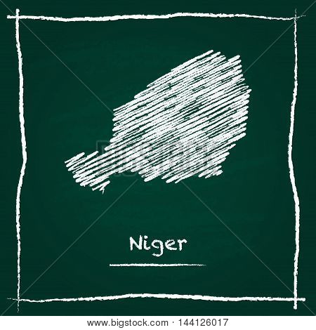 Niger Outline Vector Map Hand Drawn With Chalk On A Green Blackboard. Chalkboard Scribble In Childis