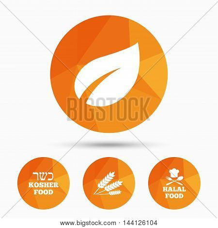 Natural food icons. Halal and Kosher signs. Gluten free. Chief hat with fork and spoon symbol. Triangular low poly buttons with shadow. Vector