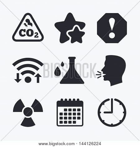 Attention and radiation icons. Chemistry flask sign. CO2 carbon dioxide symbol. Wifi internet, favorite stars, calendar and clock. Talking head. Vector
