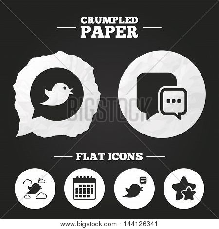 Crumpled paper speech bubble. Birds icons. Social media speech bubble. Chat bubble with three dots symbol. Paper button. Vector