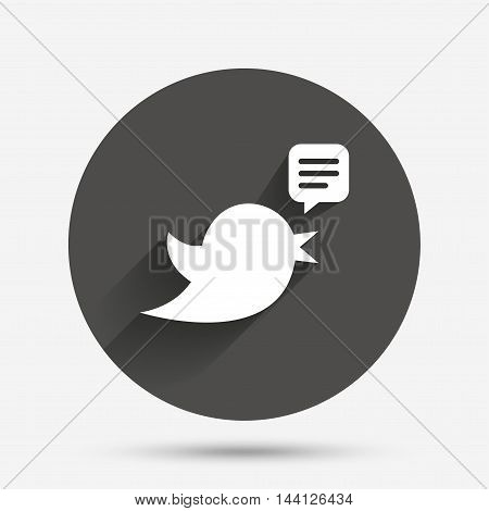 Bird icon. Social media sign. Speech bubble chat symbol. Circle flat button with shadow. Vector