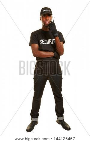 Full body short of black man as security guard with headset