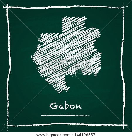 Gabon Outline Vector Map Hand Drawn With Chalk On A Green Blackboard. Chalkboard Scribble In Childis