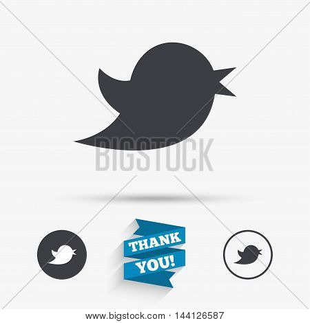 Bird icon. Social media sign. Messages symbol. Flat icons. Buttons with icons. Thank you ribbon. Vector
