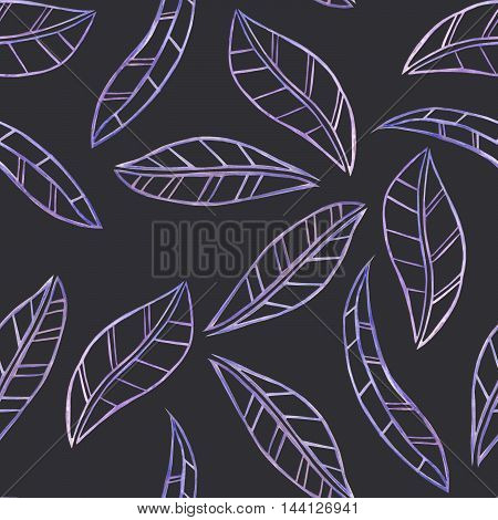 A seamless floral pattern with the watercolor violet leaves painted on a dark background