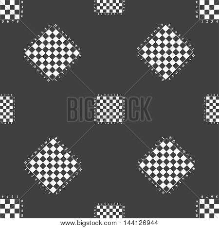 Modern Chess Board Sign. Seamless Pattern On A Gray Background. Vector
