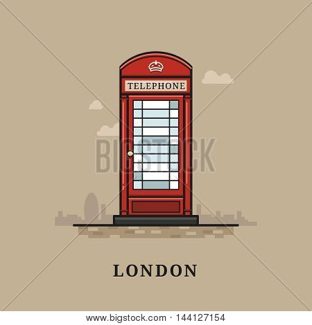 Flat modern vector London, the capital of Great Britain with red telephone . Line art vector background