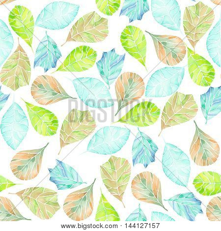 Seamless tender pattern with abstract green, brown and blue leaves painted in watercolor on a white background