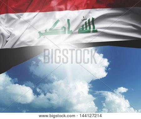 Iraq flag on a beautiful day