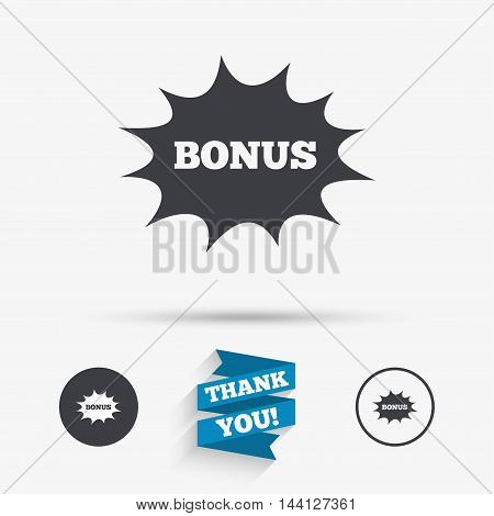 Bonus sign icon. Special offer explosion cartoon bubble symbol. Flat icons. Buttons with icons. Thank you ribbon. Vector