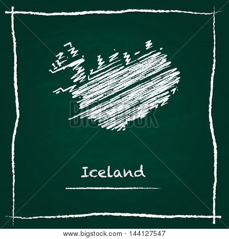 Iceland Outline Vector Map Hand Drawn With Chalk On A Green Blackboard. Chalkboard Scribble In Child
