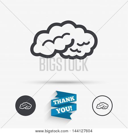 Brain sign icon. Human intelligent smart mind. Flat icons. Buttons with icons. Thank you ribbon. Vector