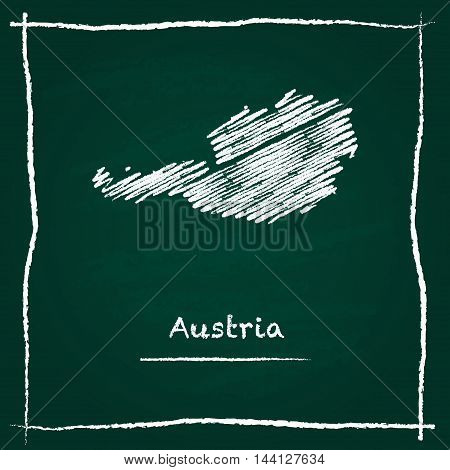 Austria Outline Vector Map Hand Drawn With Chalk On A Green Blackboard. Chalkboard Scribble In Child
