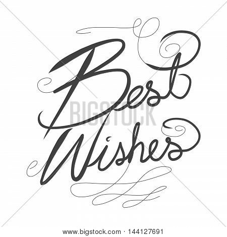 Best wishes word lettering on white background
