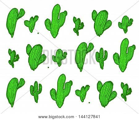 Seamless watercolor cactus pattern on paper texture. Botanical cacti background. funny