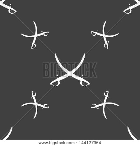 Crossed Saber Sign. Seamless Pattern On A Gray Background. Vector