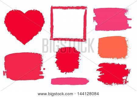 Vector background set of red and pink brushes for decoration