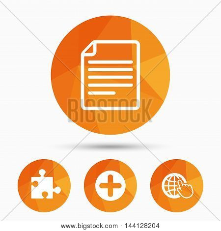 Plus add circle and puzzle piece icons. Document file and globe with hand pointer sign symbols. Triangular low poly buttons with shadow. Vector