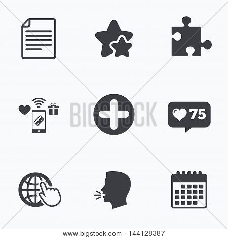 Plus add circle and puzzle piece icons. Document file and globe with hand pointer sign symbols. Flat talking head, calendar icons. Stars, like counter icons. Vector