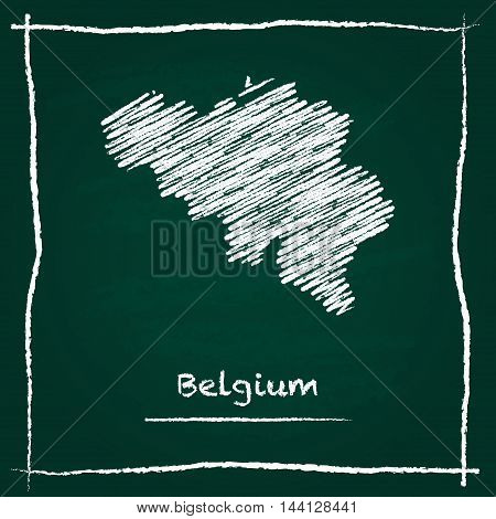 Belgium Outline Vector Map Hand Drawn With Chalk On A Green Blackboard. Chalkboard Scribble In Child