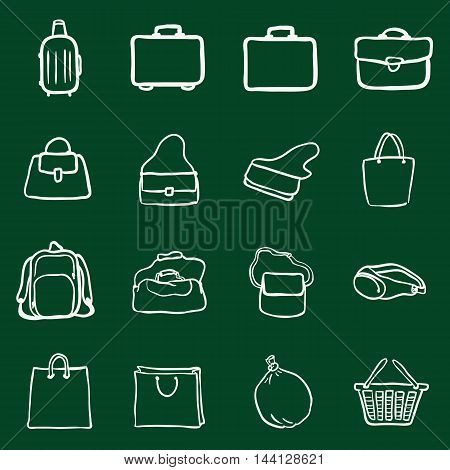 Vector Set Of Chalk Doodle Bags Icons