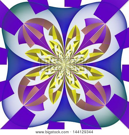 Multicolored symmetrical pattern with geometrical ornament. Artwork for creative design art and entertainment.
