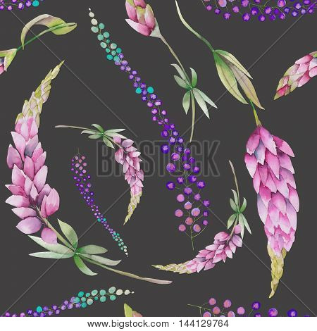 Seamless pattern with the watercolor red lupine flowers and abstract mimosa flowers, hand-drawn on a dark background