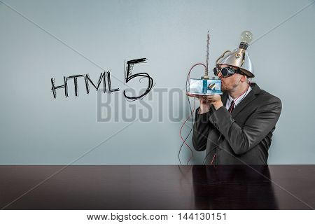 Html 5 text with vintage businessman kissing machine