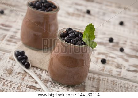 Healthy Breakfast Or Morning Snack With Chia Seeds Chocolate Pudding And Blueberries. Vegetarian Foo