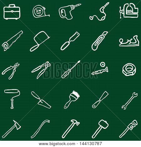 Vector Set of Chalk Doodle Work Tools Icons