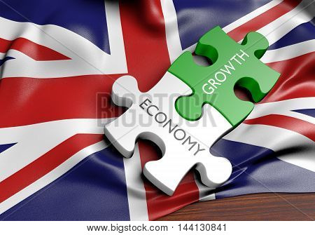 United Kingdom economy and financial market growth concept, 3D rendering