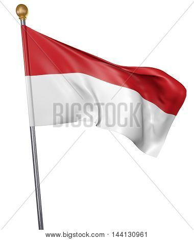 National flag for country of Indonesia isolated on white background, 3D rendering