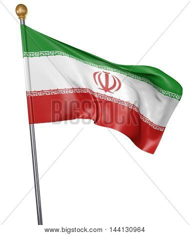 National flag for country of Iran isolated on white background, 3D rendering