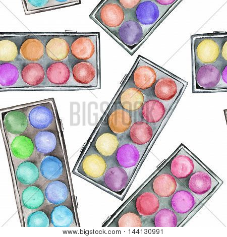 A seamless pattern with the makeup eyeshadow palettes. All elements were hand-drawn in a watercolor on a white background.
