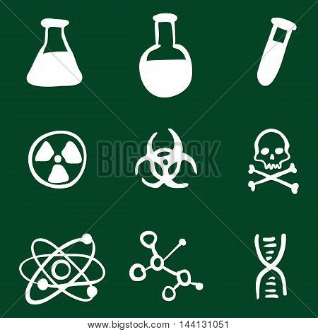 Vector Doodle Chemistry Icons Set on Green Background