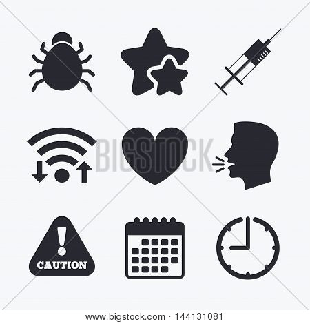Bug and vaccine syringe injection icons. Heart and caution with exclamation sign symbols. Wifi internet, favorite stars, calendar and clock. Talking head. Vector