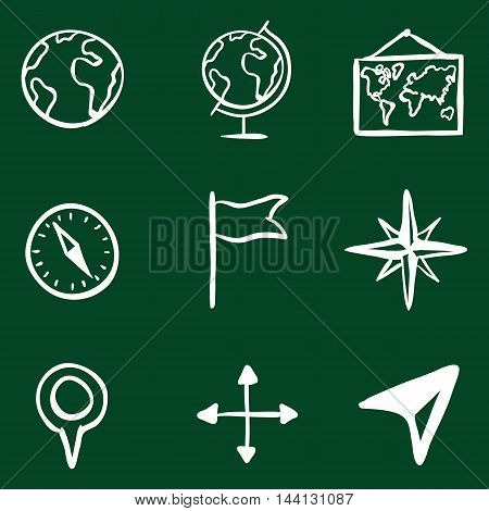 Vector Doodle Geography Icons Set on Green Background