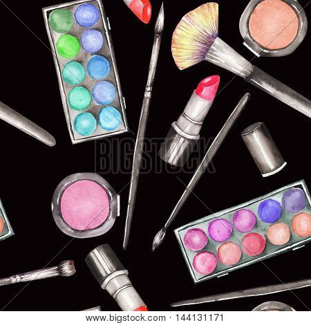 A seamless pattern with the makeup tools:  blusher, eyeshadow, lipstick and makeup brushes. All elements were hand-drawn in a watercolor on a black background.