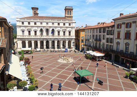 Town Square Piazza Vecchia And Palace Palazzo Nuovo In Bergamo, Citta Alta, Italy