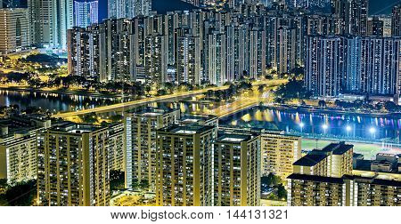 Residential building in Hong Kong at night