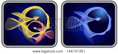 Icons with abstract blended birds of spirals. Two rounded rectangles with abstract blue, yellow and red birds